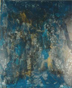 BLAUES BILD HOLZ (2005) Acryl, Kies auf Sperrholz 50 x 60 cm